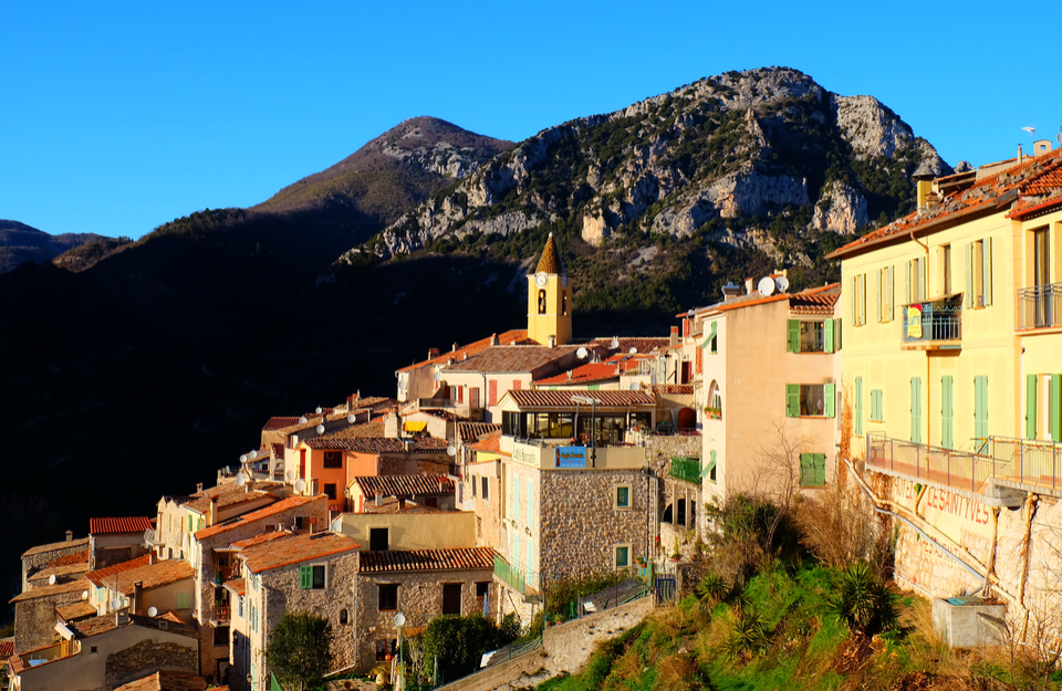 Sainte Agnes Houses in Evening Sun French Riviera