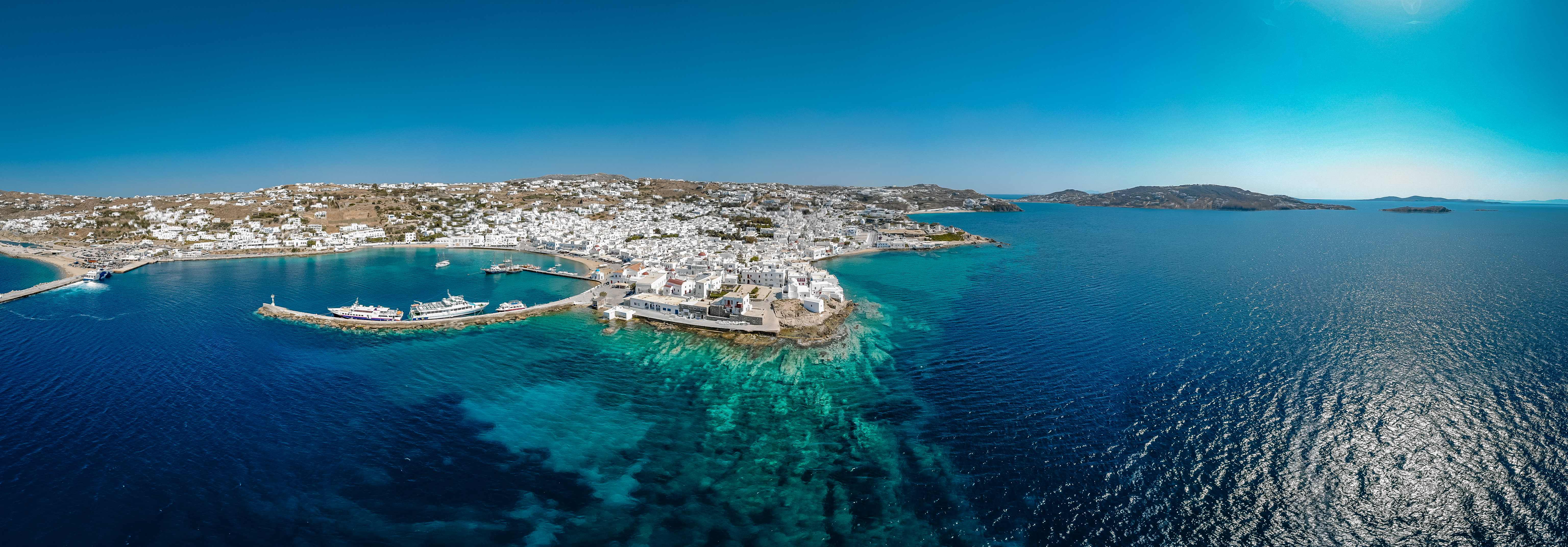 Mykonos, Greece, Drone, Panoramic, Sea