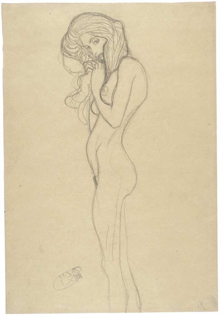 Gustav Klimt, Standing female nude, 1901, Pencil, black chalk, packing paper, The Albertina Museum, Vienna, The Batliner Collection, Exhibition, the Royal Academy of Arts, London, the Albertina Museum, Vienna