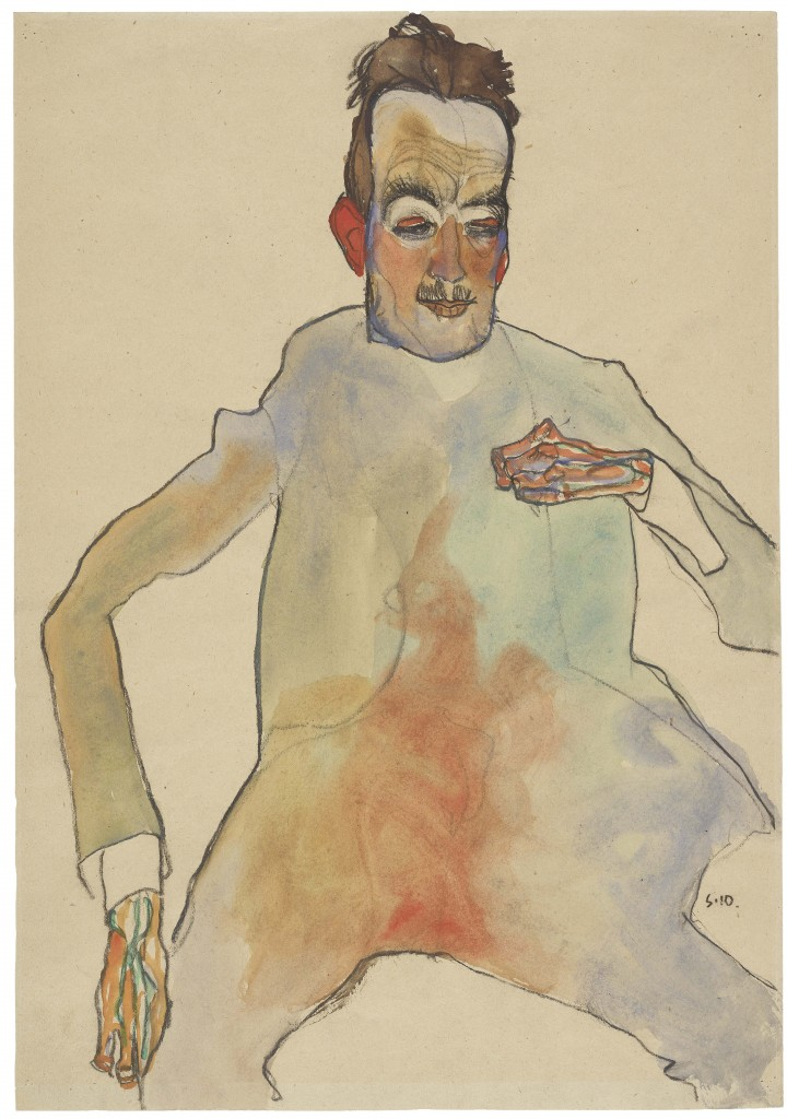 Egon Schiele, The Cellist, 1910, Black crayon, watercolour, packing paper, The Albertina Museum, Vienna Exhibition, the Royal Academy, Arts, London, Albertina Museum, Vienna