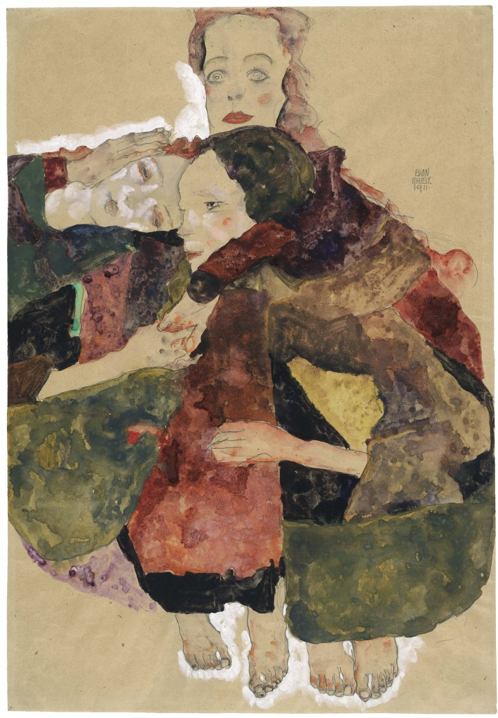 The Albertina Museum, Vienna; Egon Schiele, Group of Three Girls, 1911. Pencil, watercolour, gouache, with white gouache,packing paper, The Royal Academy, Piccadilly