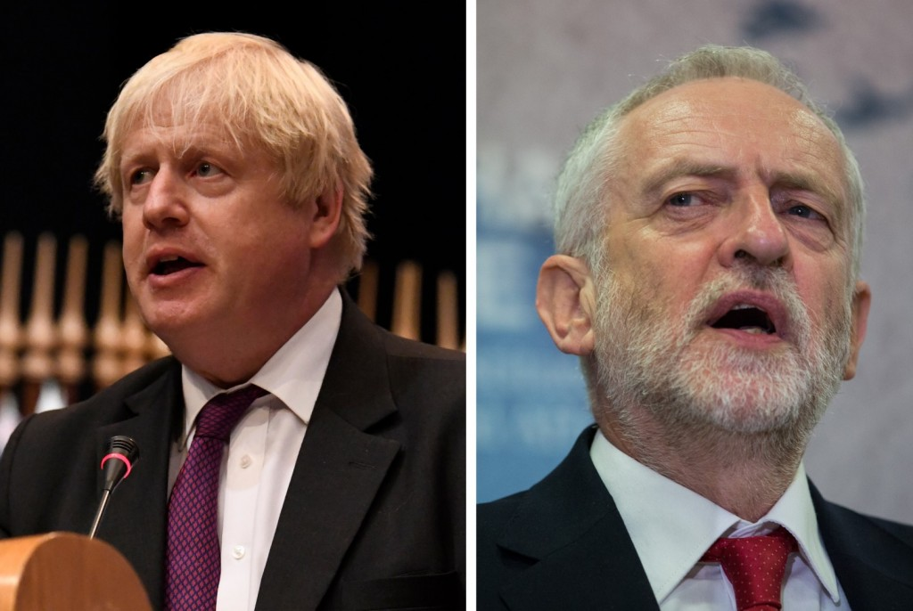 Boris Johnson Prime Minister, Jeremy Corbyn Leader of the Labour Party (credit wiki media) (Large)