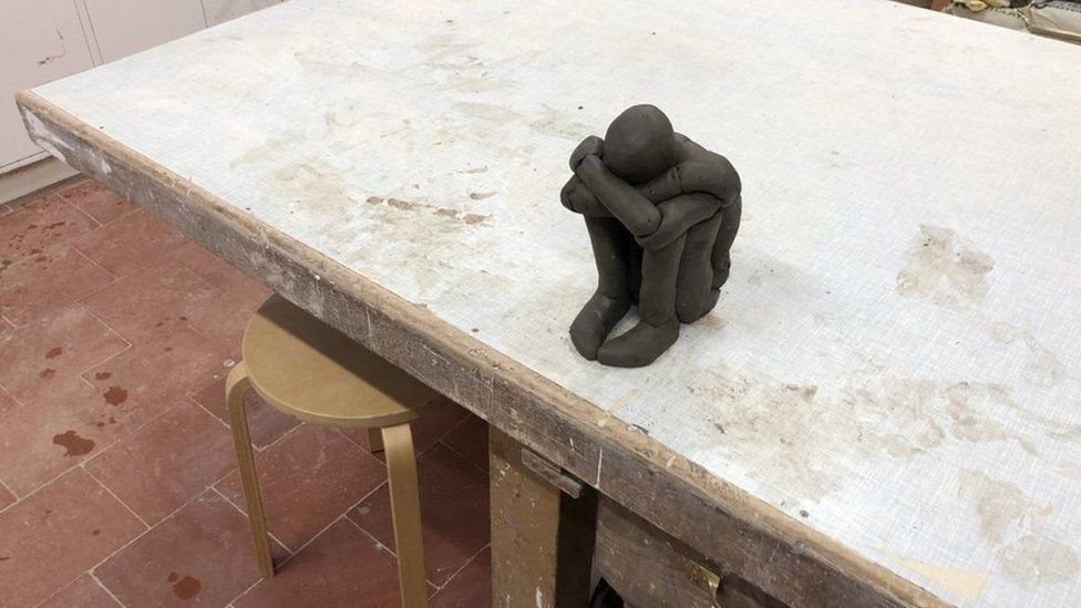 Sir Antony Gormley has been experimenting with clay during lockdown, producing works such as Hold As seen in the BBC News article: https://www.bbc.co.uk/news/uk-52296886Coronavirus: How artists are depicting the lockdown © Anthony Gormley