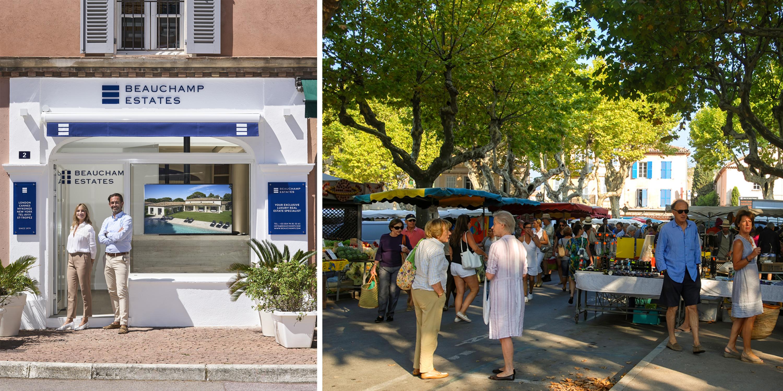 Beauchamp Estates Saint Tropez Office (Left) & Place des Lices (Right)
